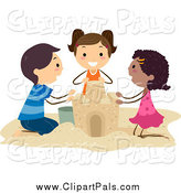 Pal Clipart of Happy Diverse Stick Kids Building a Sand Castle by BNP Design Studio