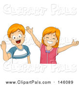 Pal Clipart of Happy Red Haired Caucasian Children Welcoming and Wanting Hugs by BNP Design Studio