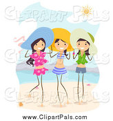 Pal Clipart of Happy Summer Stick Girls on a Beach by BNP Design Studio