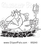 Pal Clipart of Lineart King Neptune Surfacing by Toonaday