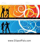 April 4th, 2014: Pal Clipart of Orange and Blue Silhouetted Dancer and Swirl Website Banners by KJ Pargeter