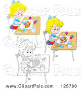 Pal Clipart of Outlined and Colored Girls Painting Easter Eggs by Alex Bannykh