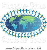 Pal Clipart of Paper People Holding Hands Around an Atlas of Earth by Prawny