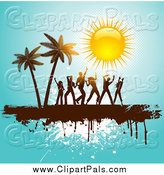 Pal Clipart of People Dancing near Palm Trees Under a Shiny Sun on Blue Grunge by KJ Pargeter