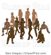 Pal Clipart of People in a Crowd Silhouetted in Dark Brown and Light Brown by AtStockIllustration