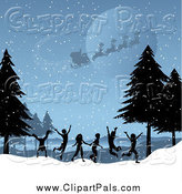 Pal Clipart of Santa Flying over Silhouetted Children Playing in a Winter Landscape by KJ Pargeter