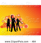 Pal Clipart of Silhouetted Dancers Against Orange Rays and Circles by KJ Pargeter