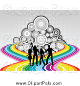Pal Clipart of Silhouetted Dancers on a Rainbow Road over Circles and Halftone by KJ Pargeter