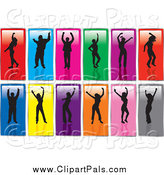 Pal Clipart of Silhouetted Dancers on Colorful Panels by KJ Pargeter