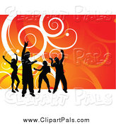 Pal Clipart of Silhouetted Dancers over Gradient Orange with White Swirls by KJ Pargeter