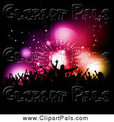 Pal Clipart of Silhouetted Fans Against Flares by KJ Pargeter