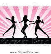 Pal Clipart of Silhouetted Female Dancers Against Pink Rays by KJ Pargeter