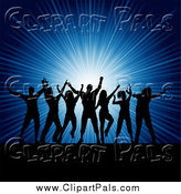 Pal Clipart of Silhouetted Party People Dancing over a Blue Burst by KJ Pargeter