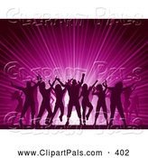 Pal Clipart of Silhouetted People Dancing over a Pink Party Burst by KJ Pargeter