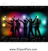 Pal Clipart of Silhouetted People Dancing over Colorful Halftone and Black by KJ Pargeter