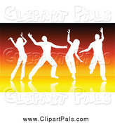Pal Clipart of Silhouetted White Dancers over Orange Lines by KJ Pargeter