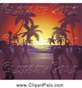 Pal Clipart of Silhouetted Women Dancing on a Tropical Beach at Sunset by AtStockIllustration