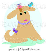Pal Clipart of Tan Birds on a Dog Wearing a Spinner Hat by