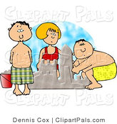 Pal Clipart of Three Boys and Girl Building a Sand Castle at the Beach by Djart