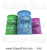 Pal Clipart of Three Colorful Friend, Power and Love Barrels on White by Frank Boston