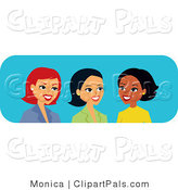 Pal Clipart of Three Diverse Caucasian, Hispanic and Black Women Talking by Monica