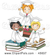 Pal Clipart of Three Graduate Kids Waving and Sitting on Books by BNP Design Studio