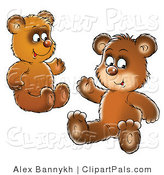 Pal Clipart of Two Brown Bear Cubs, Siblings or Friends, Sitting on the Ground and Waving by Alex Bannykh