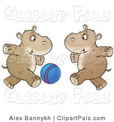 Pal Clipart of Two Brown Hippos Running and Playing with a Blue Ball by Alex Bannykh