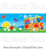Pal Clipart of Two Butterfly Insects over a Ball in a Flowery Field with a Bird and Dog on a Train on a Sunny Spring Day by Alex Bannykh
