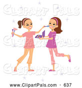 Pal Clipart of Two Cute Playing Girls Applying Makeup by Monica