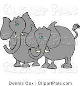 Pal Clipart of Two Elephants with Tusks Standing Next to Each Other by Djart