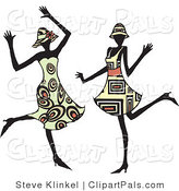 Pal Clipart of Two Energetic Dancing Women in Hats and Fashionable Dresses, Dancing at a Party and Having Fun by Steve Klinkel