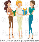 Pal Clipart of Two Friends Bringing Presents to a Baby Shower for a Happy Pregnant Woman by BNP Design Studio