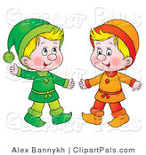 Pal Clipart of Two Little Blond Boy Elves Dressed in Green and Orange by Alex Bannykh