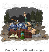 Pal Clipart of Two Men Camping Together Under the Starry Nighttime Sky by Djart