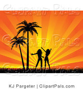 Pal Clipart of Two Silhouetted Females, Friends or Sisters, Silhouetted and Dancing in Grass by Palm Trees Against a Bursting Orange Background by KJ Pargeter