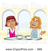 Pal Clipart of Two Smiling Businesswomen Gossiping over Coffee by David Rey
