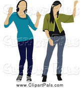 Pal Clipart of Two Waving Women by Leonid