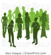 Pal Clipart of Two Women Chatting Among a Crowd of a Silhouetted Green Group by AtStockIllustration