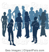 Pal Clipart of Two Women Chatting Among a Crowd of Silhouetted Blue People on White by AtStockIllustration