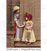 Pal Clipart of Two Young Girls at a Doorway, Smiling and Holding Hands, Circa 1880 by OldPixels