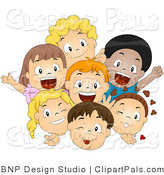 Pal Vector Clipart of a Group of Excited Diverse Children Smiling and Waving by BNP Design Studio