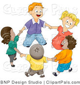 Pal Vector Clipart of a Group of Happy Diverse Kids Holding Hands and Playing Ring Around the Rosie by BNP Design Studio