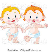 Pal Vector Clipart of Happy Babies in Diapers Holding Hands by Pushkin