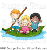 Pal Vector Clipart of Happy Kids Floating on a Leaf by BNP Design Studio