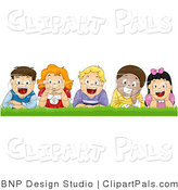 Pal Vector Clipart of Happy Kids Laying in the Grass by BNP Design Studio