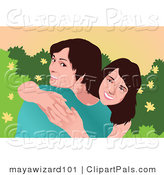 Pal Vector Clipart of Two Brunette Sisters Smiling and Hugging by Mayawizard101