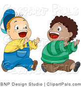 Pal Vector Clipart of Two Happy Boys Playing Chase by BNP Design Studio