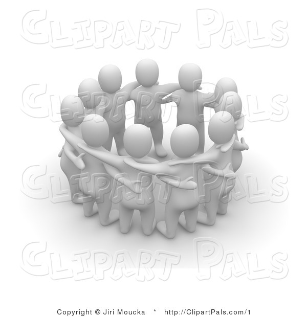 3d Clipart of a Group of People Talking in a Circle