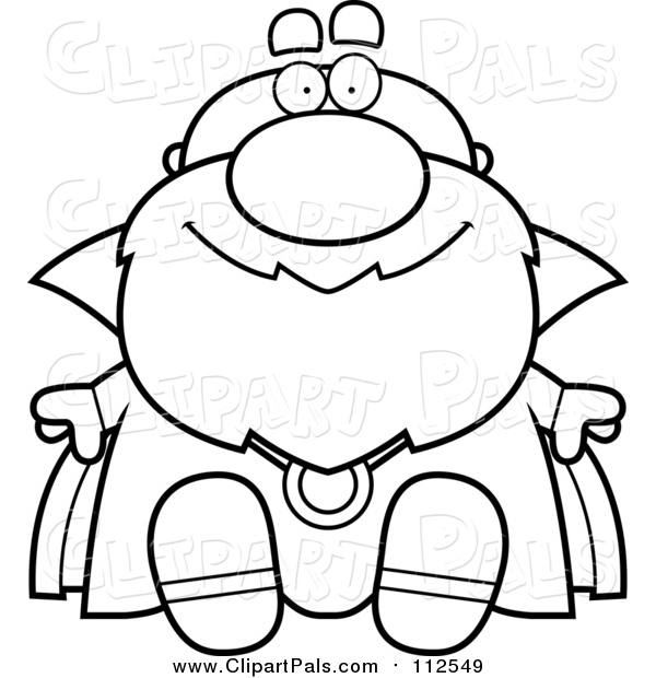 Clipart of a Black and White Lineart Sitting Bald Wizard